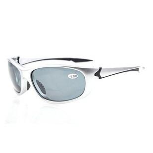 Eyekepper TR90 Unbreakable Sports Grey Lens Silver Frame Bifocal Sunglasses+1.0