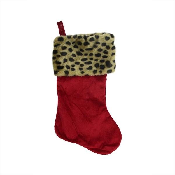 "20"" Diva Safari Red Velveteen Leopard Cuffed Christmas Stocking"