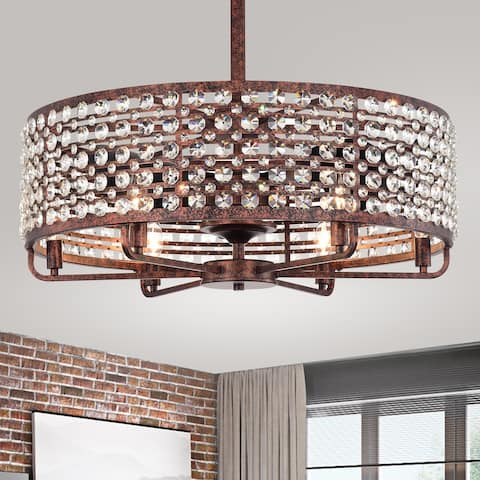 Juliet Rustic Bronze 28-Inch 6-Light Metal & Crystal Drum Shade Lighted Ceiling Fan (Includes Remote)
