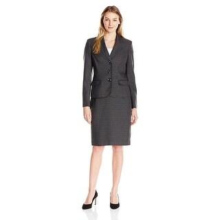 Le Suit Long Sleeve Plaid Three Button Jacket Skirt Suit - 12
