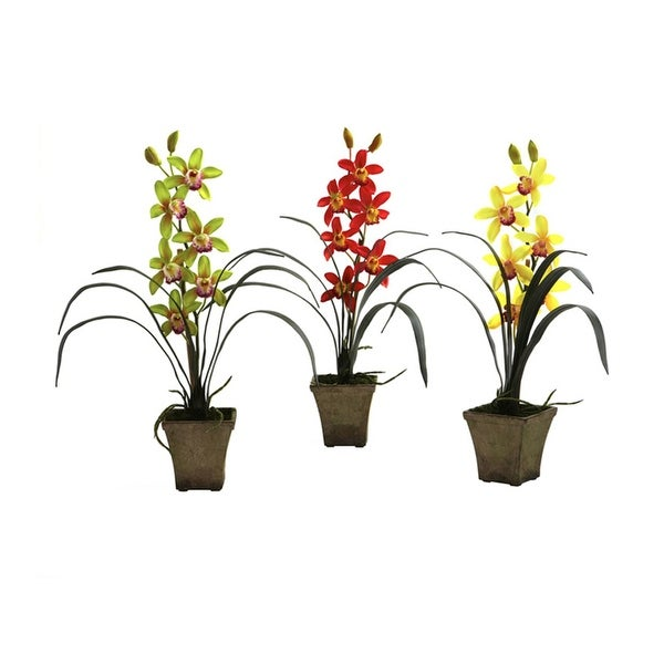 Nearly Natural Cymbidium Orchid with Vase Arrangement - Set of 3 - orted