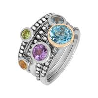 2 1/2 ct Multi-Stone Stackable Rings in Sterling Silver and 14K Gold