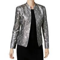 Kasper Silver Womens Size 6 Metallic Open-Front Jacquard Jacket