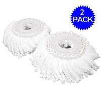 Costway Lot Of 2 Replacement Mop Micro Head Refill For 360 degree Spin Magic Mop - White
