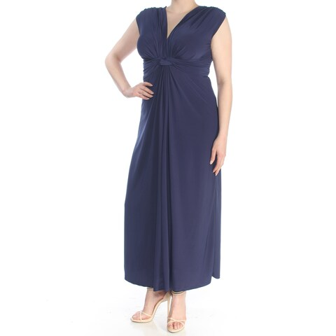 LOVE SQUARED Womens Navy Knot Front Sleeveless V Neck Maxi Formal Dress Plus Size: 1X