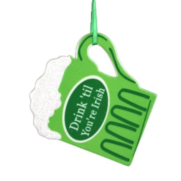 "4"" Luck of the Irish ""Drink 'Til You're Irish"" Beer Mug Christmas Ornament - green"