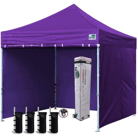 Eurmax Outdoor Pop Up Canopy tent with Sidewalls and Roller Bag