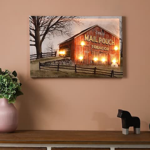 Red Barn Trail Ride Canvas Print with LED Lights