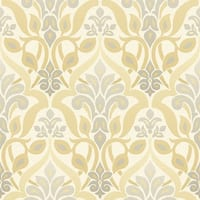 Brewster 2535-20647 Fusion Yellow Ombre Damask Wallpaper - N/A
