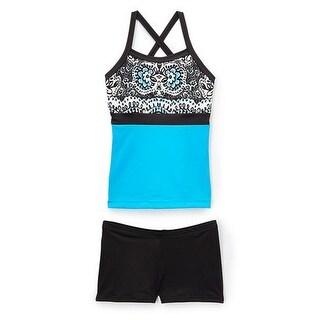 Elliewear Little Girls Turquoise Aztec Print Top Brief 2 Pc Dance Set