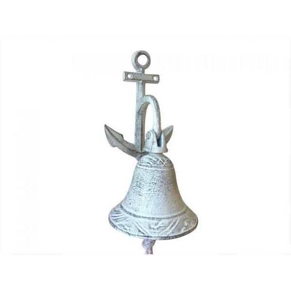 Whitewashed Cast Iron Wall Hanging Anchor Bell White