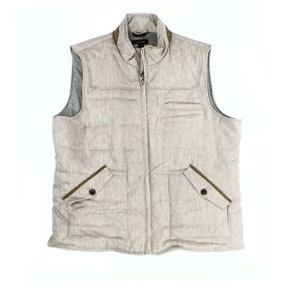 Tasso Elba NEW Brown Mens Size XL Faux-Suede Trim Quilted Linen Vest