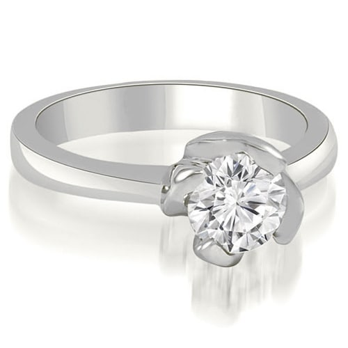 0.50 cttw. 14K White Gold Twisted Prong Solitaire Diamond Engagement Ring