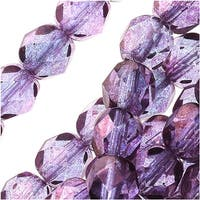 Czech Fire Polished Glass Beads 6mm Round Lumi Coated - Purple (25)