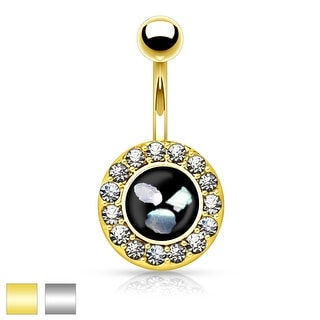 Round Crystal Paved Mother of Pearl Inlaid Center 316L Surgical Steel Belly Button Rings (Option: Black)