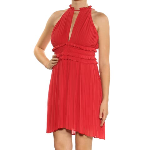 77985d10522 MAX STUDIO Womens Red Pleated Ruffled Sleeveless Crew Neck Mini Empire  Waist Cocktail Dress Size