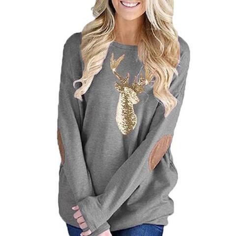 Leo Rosi Women's Gold Glitter Reindeer Top