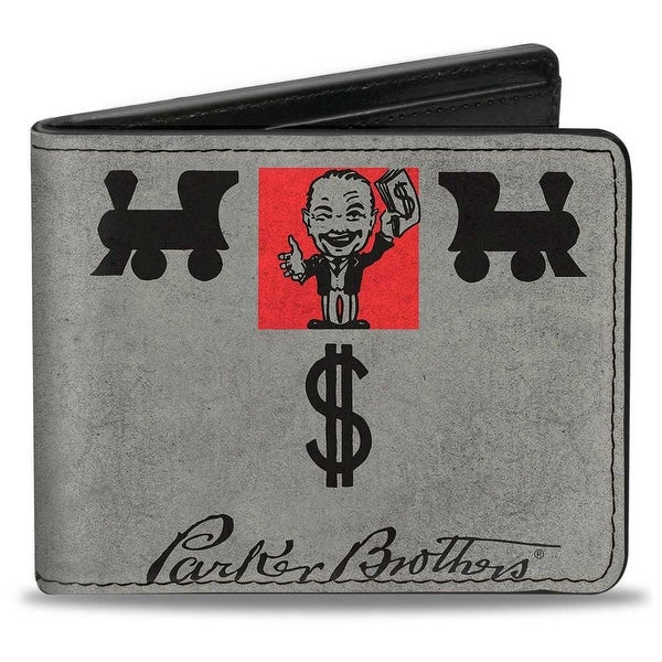 Classic Mr. Monopoly Pose Trains Parker Brothers + Monopoly Grays Black Red Bi-Fold Wallet - One Size Fits most
