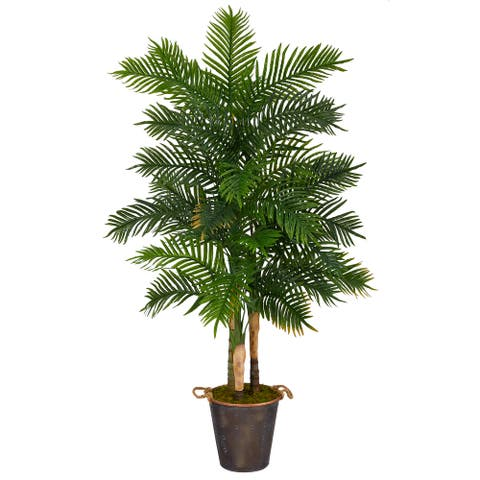 "70"" Areca Palm Tree in Decorative Metal Pail with Rope (Real Touch)"