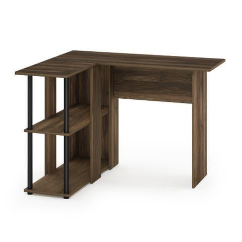Furinno Abbott L-Shape Desk with Bookshelf