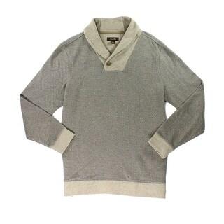 Tasso Elba NEW Brown Mens Size XL Geo-Print Shawl Collar Sweater