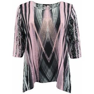 Women Plus Size Rhinestones Asymmetrical Fashion Blouse Tee Shirt Knit Top Black Pink G170.16L