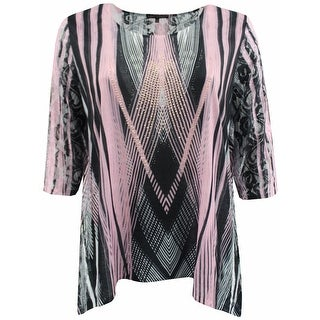 Women Plus Size Rhinestones Asymmetrical Fashion Blouse Tee Shirt Knit Top Black Pink G170.16L (2 options available)
