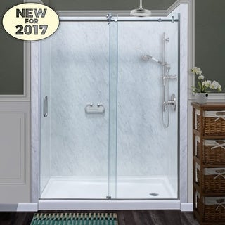 "Miseno MSDCFL6076 76"" High x 60"" Wide Frameless Sliding Shower Door with Clear 3/8"" Glass and H2OFF Technology"