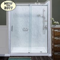 "Miseno MSDCFL6076 76"" High x 60"" Wide Frameless Sliding Shower Door with Clear 3/8"" Glass and H2OFF� Technology"
