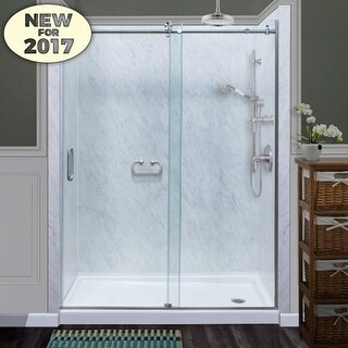 """Miseno MSDCFL6076 76"""" High x 60"""" Wide Frameless Sliding Shower Door with Clear 3/8"""" Glass and H2OFF Technology"""