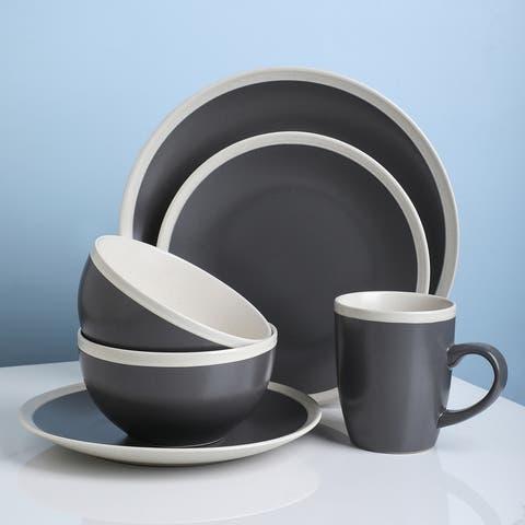 Stone Lain Serenity Speckle Stoneware Round Two-Tone Dinnerware Set
