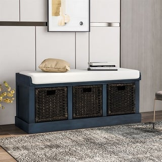 Link to Merax Entryway Storage Bench with 3 Removable Baskets and Cushion Similar Items in Living Room Furniture