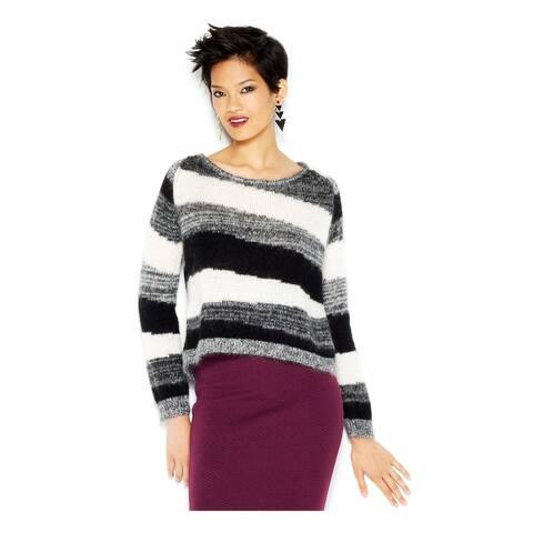 BAR III Womens Black Striped Scoop Neck Sweater Size S