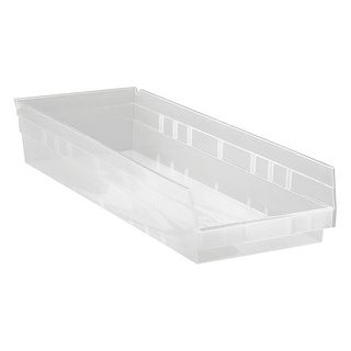 "Offex Clear View Polypropylene Economy Shelf Bin 23.85""x 8.37""x 4"" - 6 Pack"