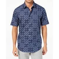 Tasso Elba Mens Small Button Down Geometric Print Shirt