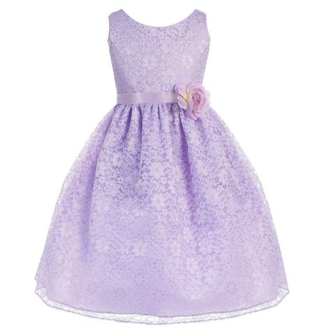 90a0f2b3526 Girls Lilac Floral Lace Junior Bridesmaid Dress 8-12
