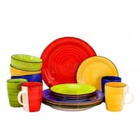 Gibson 95838.16 Home Color Vibes 16 Piece Round Dinnerware Set, Assorted Colors