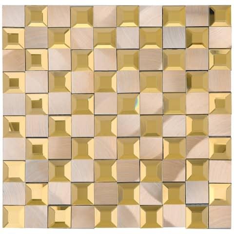 """TileGen. Crystal 1"""" x 1"""" Mirror Aluminum Mix Mosaic Tilein Gold/Brown Wall Tile (14 sheets/13.72sqft.)"""