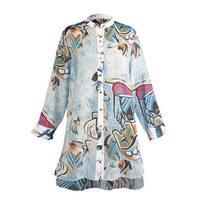 Radzoli Women's Abstract Art Print Tunic Top - Button Front Long Sleeve Shirt