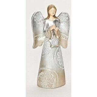 """7.5"""" Distressed Carved Lace Angel praying Decorative Christmas Table Top Figure"""
