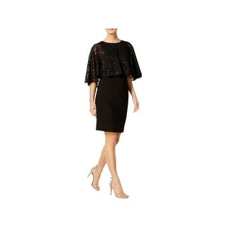 Jessica Howard Womens Capelet Dress Lace Popover