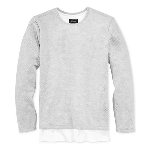 Guess Mens Layered Mesh Pullover Sweater
