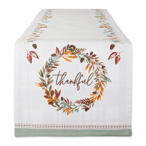 DII Thankful Autumn Wreath Reversible Embellished Table Runner