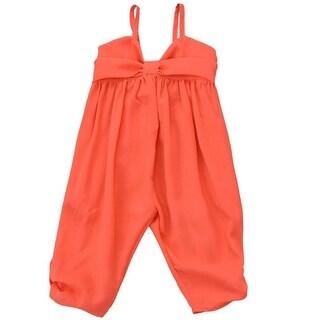 Lele Little Girls Red Flat Bow Button Detail Spaghetti Strap Jumper