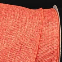 "Orange Wired Fine Burlap Craft Ribbon 6"" x 20 Yards"