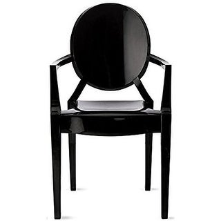 2xhome Black Modern Style Clear Ghost Armchair Made From Polycarbonate