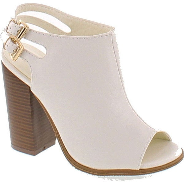 Anne Marie Sarah-11 Peep Toe Bootie -Stacked High Heel - Open Toe Ankle Boot Cutout Ankle Strap