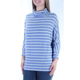 MAISON JULES $59 Womens New 1474 Blue White Striped 3/4 Sleeve Top M B+B