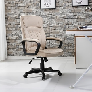 Belleze Executive Office Chair High Back Padded Lumbar Armrest Microfiber, Beige