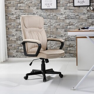 Belleze Executive Office High Back Padded Lumbar Chair Microfiber, Beige